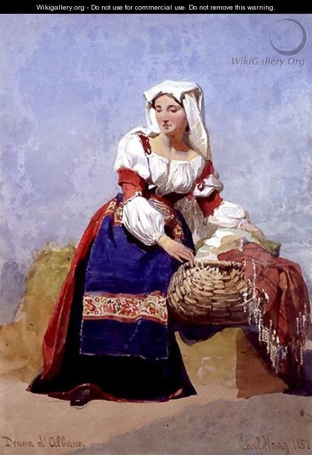 Donna dAlbano portrait of an Italian country girl seated with a basket of washing - Carl Haag