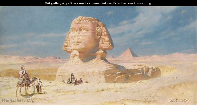 The Sphynx of Giza with the Pyramid of Mykerinos - Carl Haag