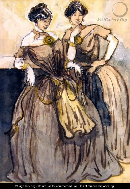 Two young women standing - Constantin Guys