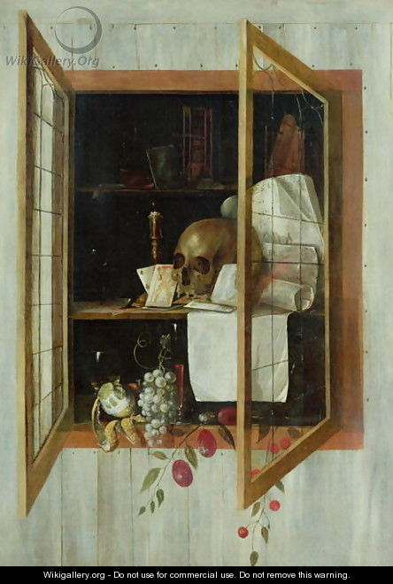 Vanitas still life seen through a trompe loeil window - Cornelis Norbertus Gysbrechts