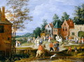 A village scene with figures dancing and merrymaking - Pieter Gysels