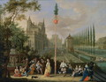 Elegant figures playing musical instruments around a maypole - Pieter Gysels