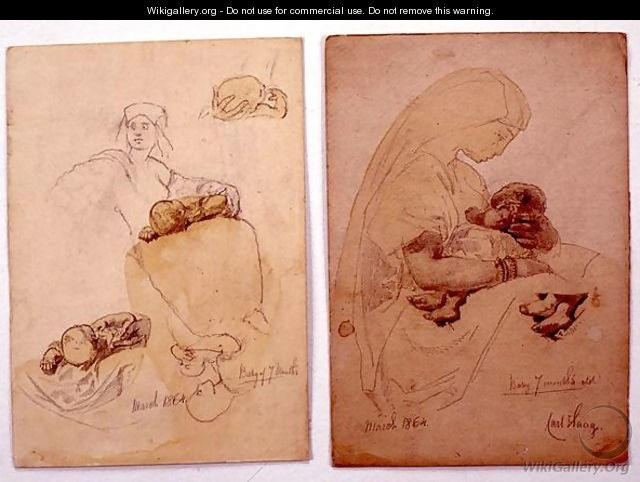 Two studies of a mother and child - Carl Haag