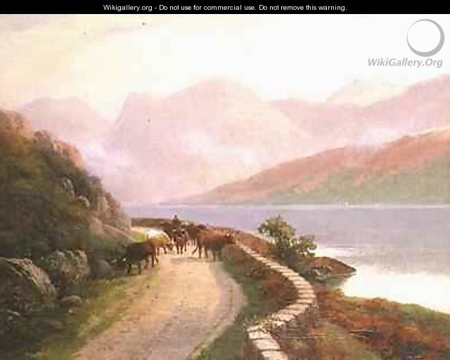 Drover with Cows by Lake Buttermere Evening - H.R. Hall