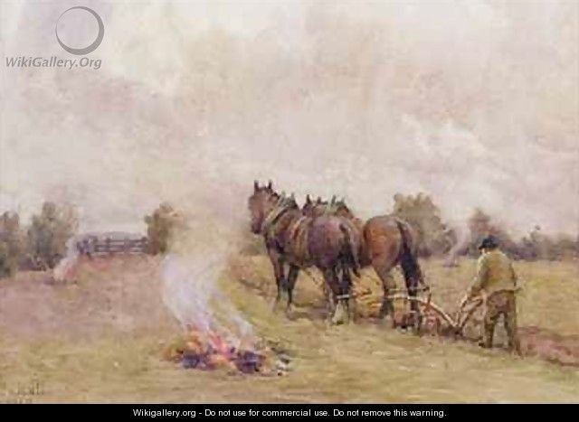 Ploughing Scene with Fires in a Field - Jessie Hall
