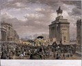 The Duke of Wellingtons 1769-1852 funeral car passing the Archway at Apsley House on 18th November 1852 - (after) Haghe, Louis