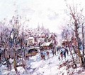 Winter Scene in a French Cathedral Town - Heinrich Hansen