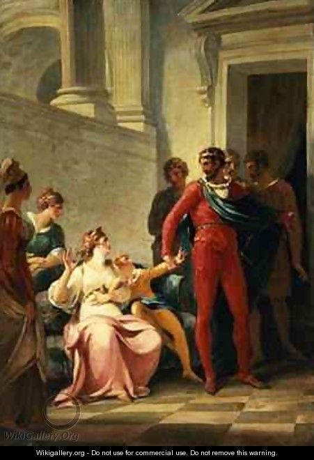 Leonites taking his son Mamilius away from his mother Act I Scene II from A Winters Tale - William Hamilton