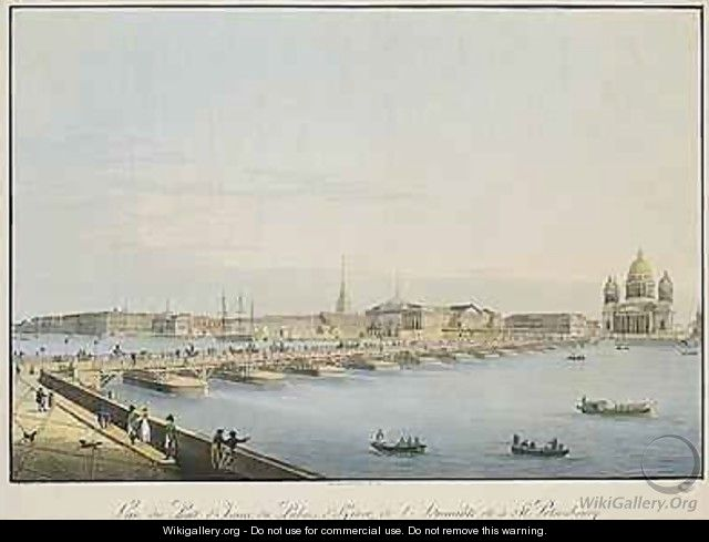 View of St Isaacs Bridge the Admiralty and the Winter Palace St Petersburg - Christian Gottlob Hammer