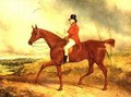 The Hounds are late this morning Luke Hopkinson on his favourite chestnut hunter with a hunt beyond probably the Barclay Hunt - Charles Hancock