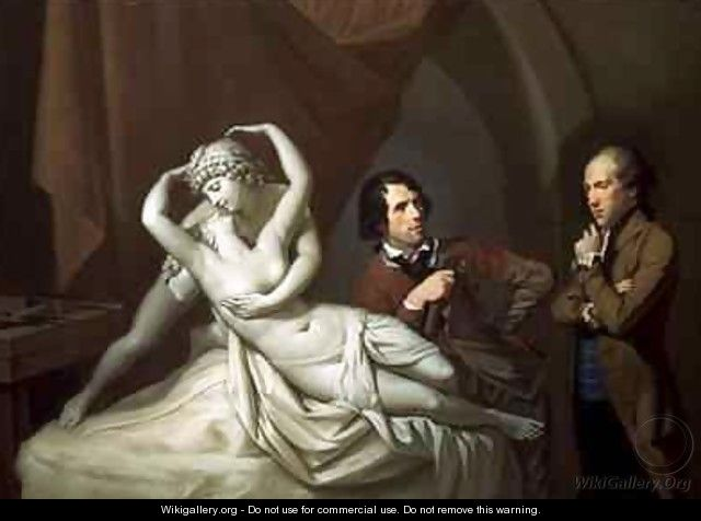 Antonio Canova 1757-1822 in his Studio with Henry Tresham 1751-1814 and a Plaster Model for the Cupid and Psyche - Hugh Douglas Hamilton