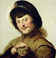 A Young Man with a Cat - (after) Hals, Frans
