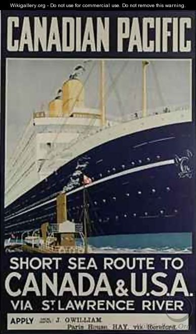 Poster advertising Canadian Pacific ferry company - E. Hamilton