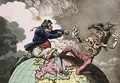 Fighting for the Dunghill or Jack Tar Settling Buonaparte - James Gillray