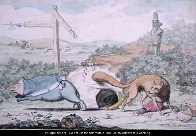 Changing Places or Fox stinking the Badger out of his Nest - James Gillray