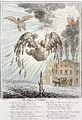 Satirical cartoon depicting the Fall of Icarus with reference to the Exchequer - James Gillray
