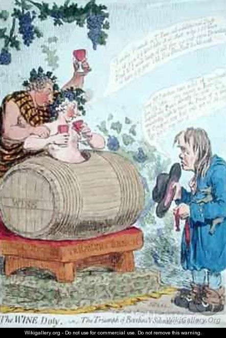 The Wine Duty or The Triumph of Bacchus and Silenus with John Bulls Remonstrance - James Gillray