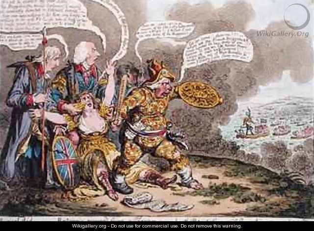 Physical Aid or Britannia recovered from a trance also The Patriotic Courage of Sherry Andrews and a Peep into the Fog - James Gillray