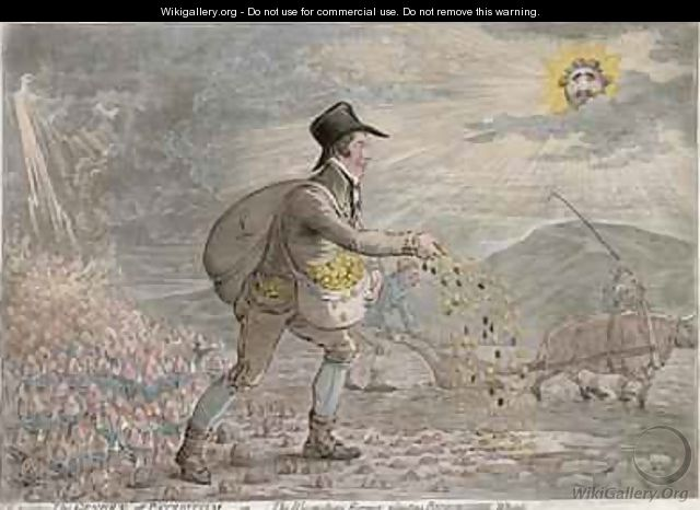 The Generae of Patriotism or The Bloomsbury Farmer planting Bedfordshire Wheat - James Gillray