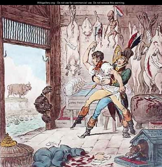 Napoleon Bonaparte 1796-1821 being restrained from butchering the bear of Russia - James Gillray