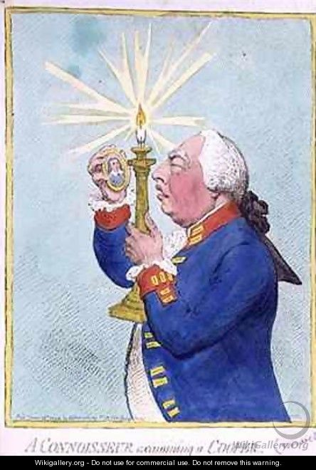 A Connoisseur examining a Cooper George III 1738-1820 fearing a new revolution peers at a portrait of Cromwell - James Gillray