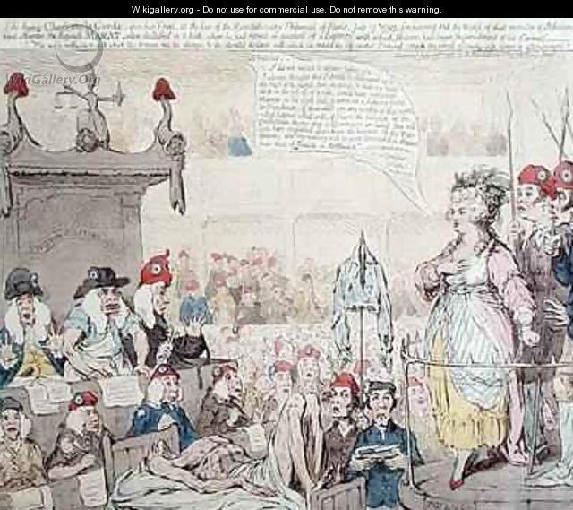 The heroic Charlotte la Corde 1768-93 upon her Trial at the Revolutionary Tribunal of Paris - James Gillray