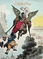 Le Diable Boiteux or The Devil upon Two Sticks Conveying John Bull to the Land of Promise - James Gillray
