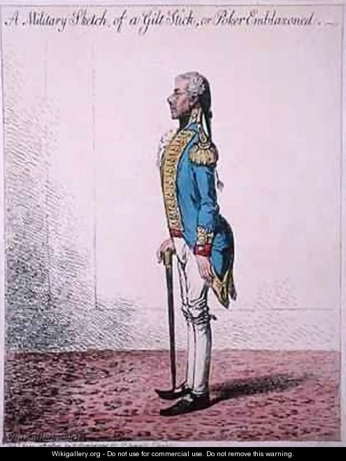 A Military Sketch of a Gilt Stick or a Poker Emblazoned - James Gillray