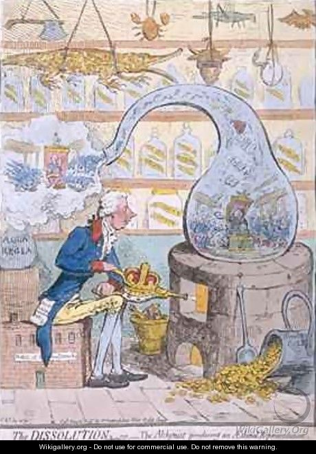 The Dissolution or the Alchymist producing an Aetherial Representation - James Gillray