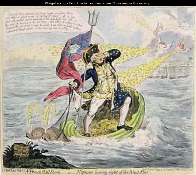 A French Hail Storm or Neptune losing sight of the Brest Fleet - James Gillray