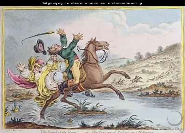 The Sound of the Horn or The Danger of Riding an Old Hunter - James Gillray