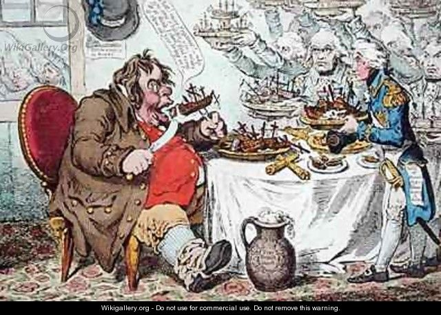 John Bull Taking a Luncheon or British Cooks cramming Old Grumble Gizzard with Bonne Chere - James Gillray