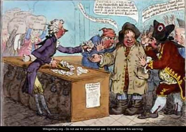 Bank Notes Paper Money French Alarmists ah poor John Bull - James Gillray