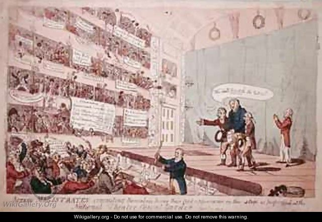 Acting Magistrates committing themselves being their first appearance as performed at the National Theatre Covent Garden - James Gillray
