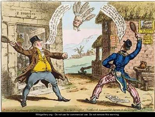 Political Amusements for Young Gentlemen or The Old Brentford Shuttlecock between Old Sarum and the Temple of St Steevens - James Gillray