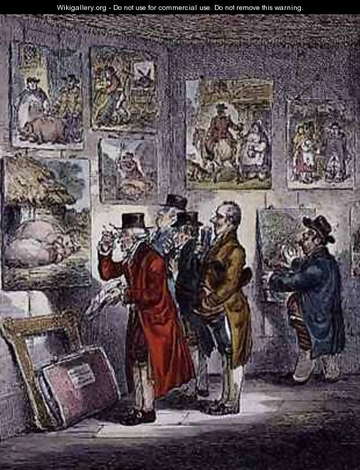 Connoisseurs Examining a Collection of George Morlands Paintings - James Gillray