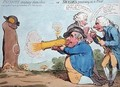 Patriots amusing themselves or Swedes practising at a Post - James Gillray