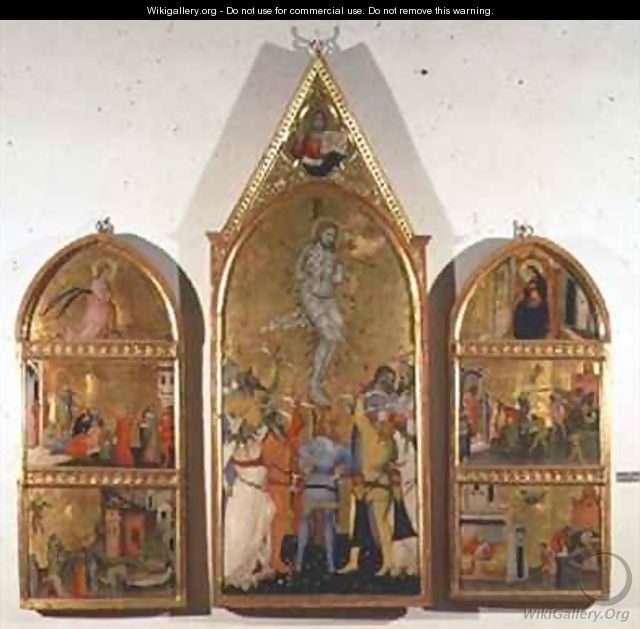The Martyrdom of St Sebastian Altarpiece central panel showing the martyrdom and side panels showing other scenes from the life of the saint - Niccolo del Biondo Giovanni di