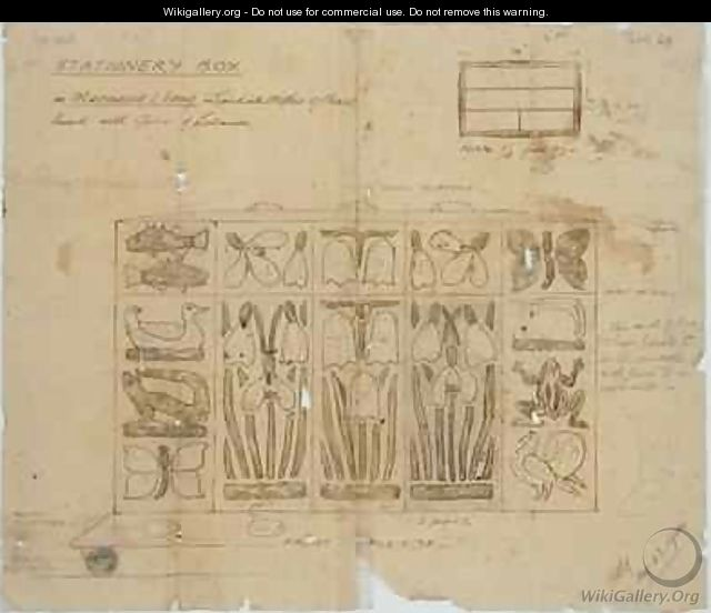 Design for Stationery Box in Macassar Ebony inlaid with Mother of Pearl - Ernest William Gimson