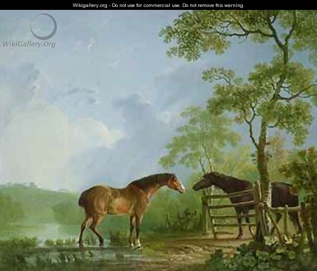 Mare and Stallion in a Landscape - Sawrey Gilpin
