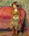Girl Seated on a Red Sofa - William Glackens
