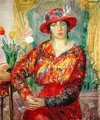 Girl in a Red Dress and Hat - William Glackens