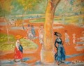 Park Woman in Blue under a Tree - William Glackens