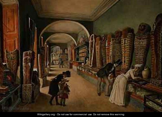The Corridor and the last Cabinet of the Egyptian Collection in the Ambraser Collection of the Lower Belvedere - Carl Goebel