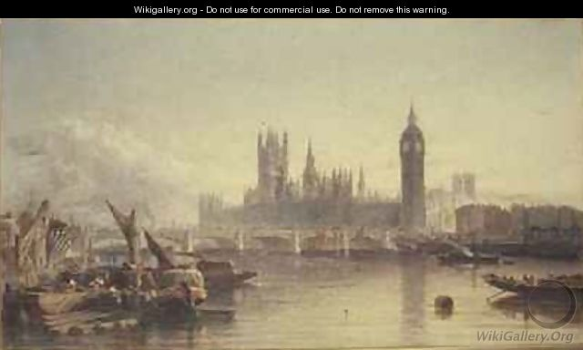 The Houses of Parliament and Westminster Bridge - Edward Angelo Goodall