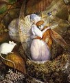 Fairy Lovers in a Birds Nest Watching a White Mouse - Frederick Goodall