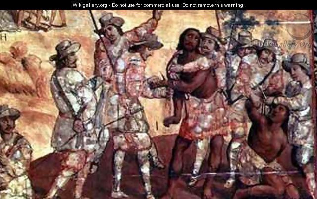 Detail of the Conquistadors Cutting off the hands of Two Spies of Xicotenca - Miguel Gonzalez
