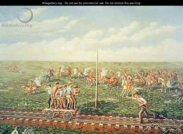 Cheyenne Indians attack workers on the Union Pacific Railroad near Fossil Creek in Kansas - (after) Gogolin, Jacob