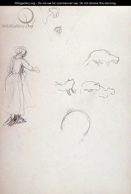 Study of a Woman and Cats for the Cave of the Golden Calf - Spencer Frederick Gore