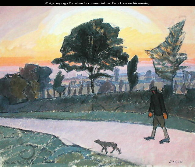 Sunset Letchworth with Man and Dog - Spencer Frederick Gore
